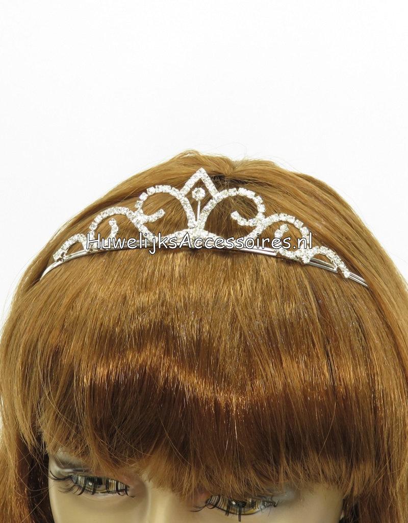 Zeer mooie zilverkleurige fonkelende strass bruid tiara
