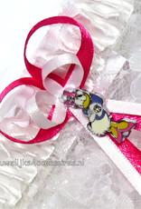 Disney Witte kant disney kousenband met Daisy Duck en met strass stenen