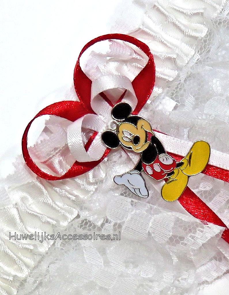 Disney Kousenband met Mickey Mouse met robijn rood en wit lint