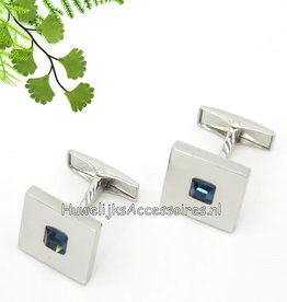 Zilver manchetknopen met blauwe steentje