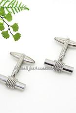 Mooie zilver manchetknopen met gevlochten touw