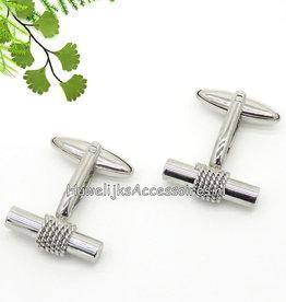 Zilveren gevlochten touw manchetknopen