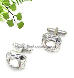 Zilveren manchetknopen met strass steen
