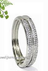 Slavenarmband dubbel zilver gekleurd met strass steentjes