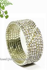 Zilver gekleurde strass klem armband