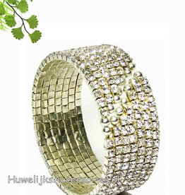 Strass en zilver klem armband