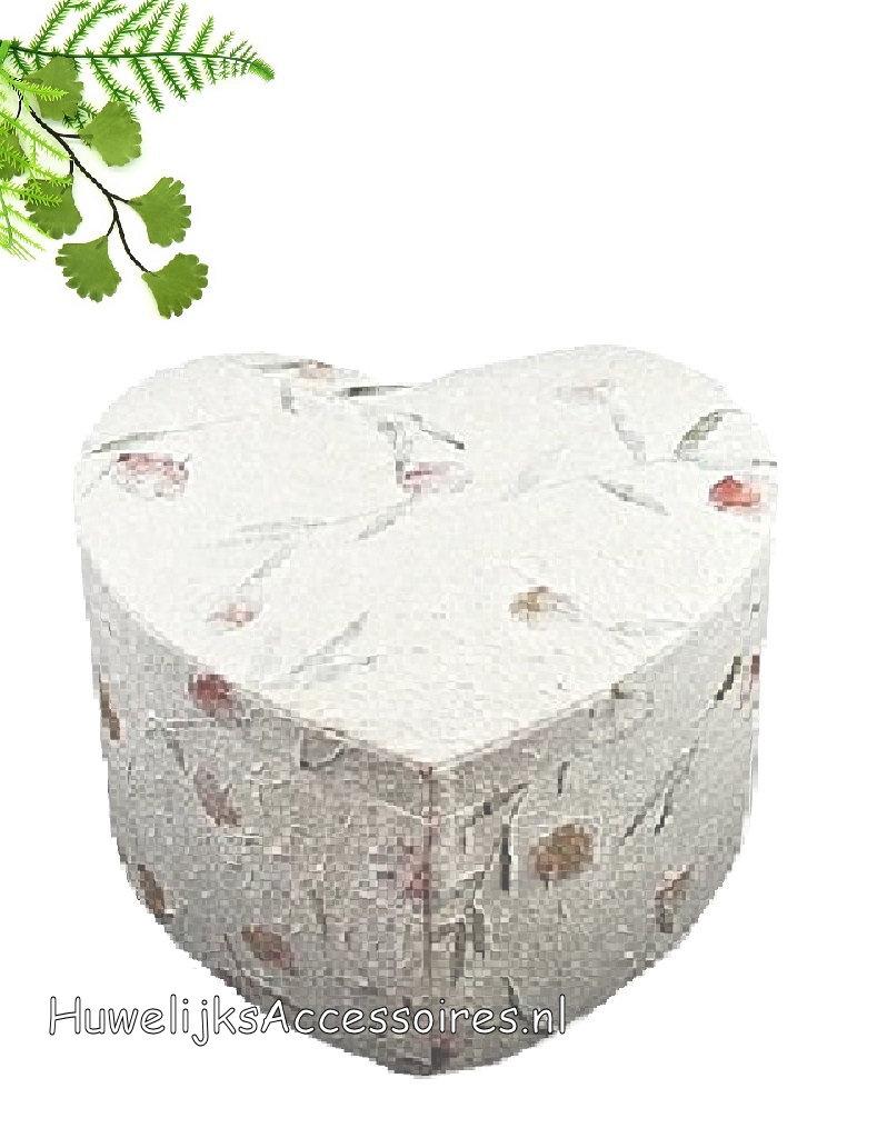 Enveloppendoos hartvorm handgemaakt van mulberry papier