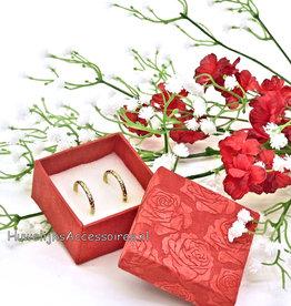 Rood vierkant ringendoosje met rozen print