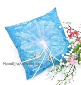 Satijnen trouwring kussen met bloem en pareltjes
