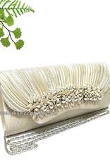 Bruid tasje of avondtasje champagne kleur met zilveren pareltjes