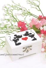 Disney Mickey en Minnie witte hutkoffer trouwring doosje