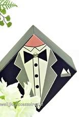 Bruidssuiker doosje, op de deksel een smoking pak