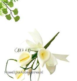 Bloem boeket bedankje met witte dragees