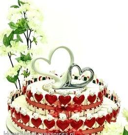 Bedankjes taart met rode hartjes