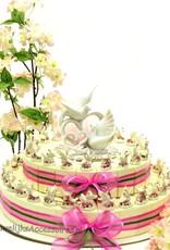 Bruiloft bedankjes taart versierd met tortelduiven