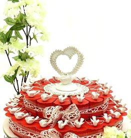 Huwelijk bedankjes taart met geluksduifjes