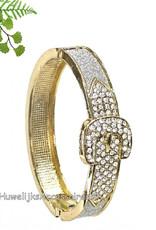 Rosé goud ovale armband met strass steentjes