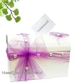 Enveloppendoos crème met paarse tule