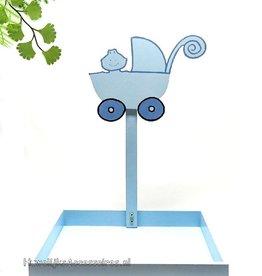 Bedankjes presentatie met blauw kinderwagen