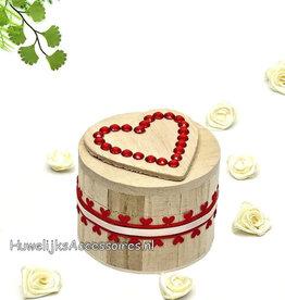Ronde houten ringdoosje met stras stenen
