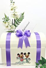 Disney Mickey en Minnie receptie enveloppendoos versiert met lila lint
