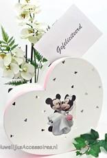 Disney Mickey en Minnie bruiloft hart enveloppendoos
