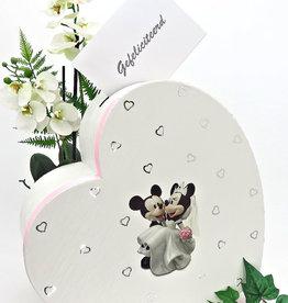 Disney Mickey en Minnie hartvorm envelop doos