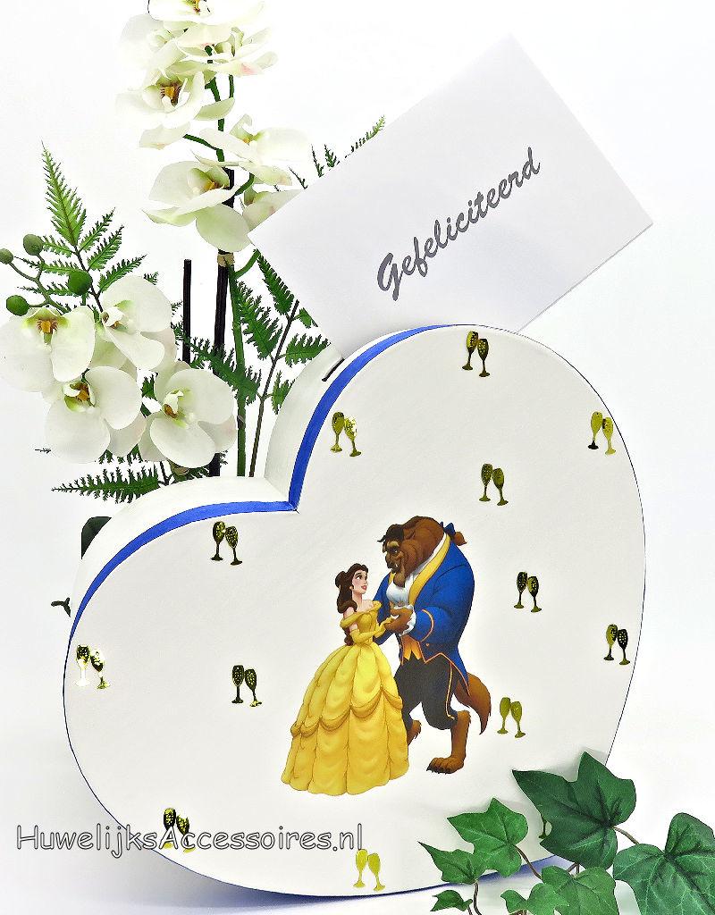 Disney Belle en het Beest hartvormige receptie enveloppendoos