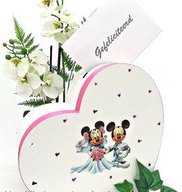 Disney Mickey en Minnie huwelijks hart enveloppendoos