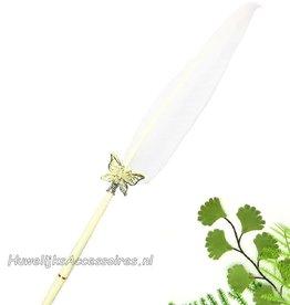 Receptie pen met witte zwanen veren