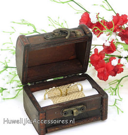 Antiek look schatkist trouwring doosje