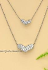 Zilveren dubbel strass harten ketting