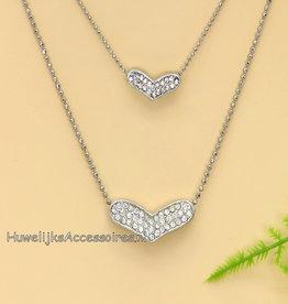 Strass zilveren harten ketting