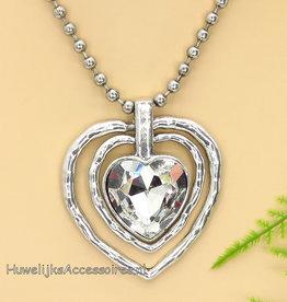 Halsketting zilver met hart strass pendant