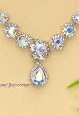 Prachtige zilveren halsketting met strass stenen