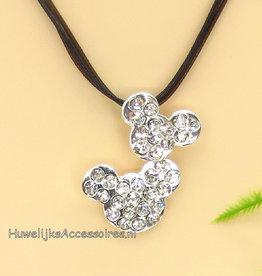Disney Leren halsketting met strass mickey icon pendant