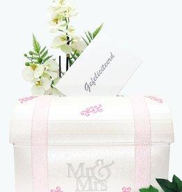 Witte enveloppendoos met roze en zilver