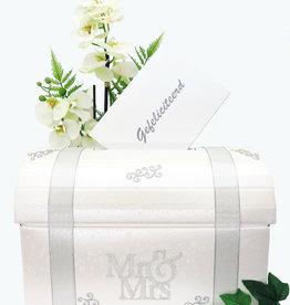 Mr & Mrs receptie enveloppendoos met zilver versierd