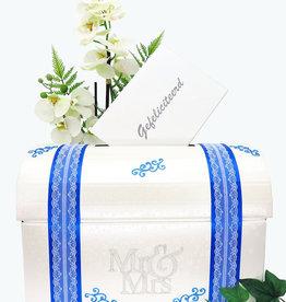 Mr & Mrs enveloppendoos versierd met blauw en zilver