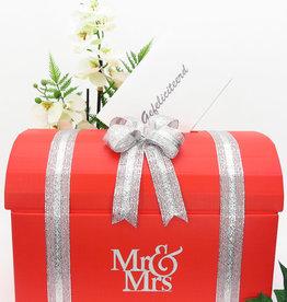 Mr & Mrs rood enveloppendoos met zilver