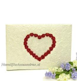 Gastenboek hart van rode roosjes