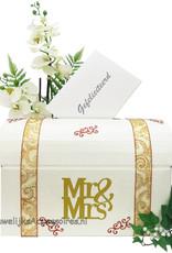 Mr & Mrs bruiloft enveloppe box versierd met goud, koper en brons