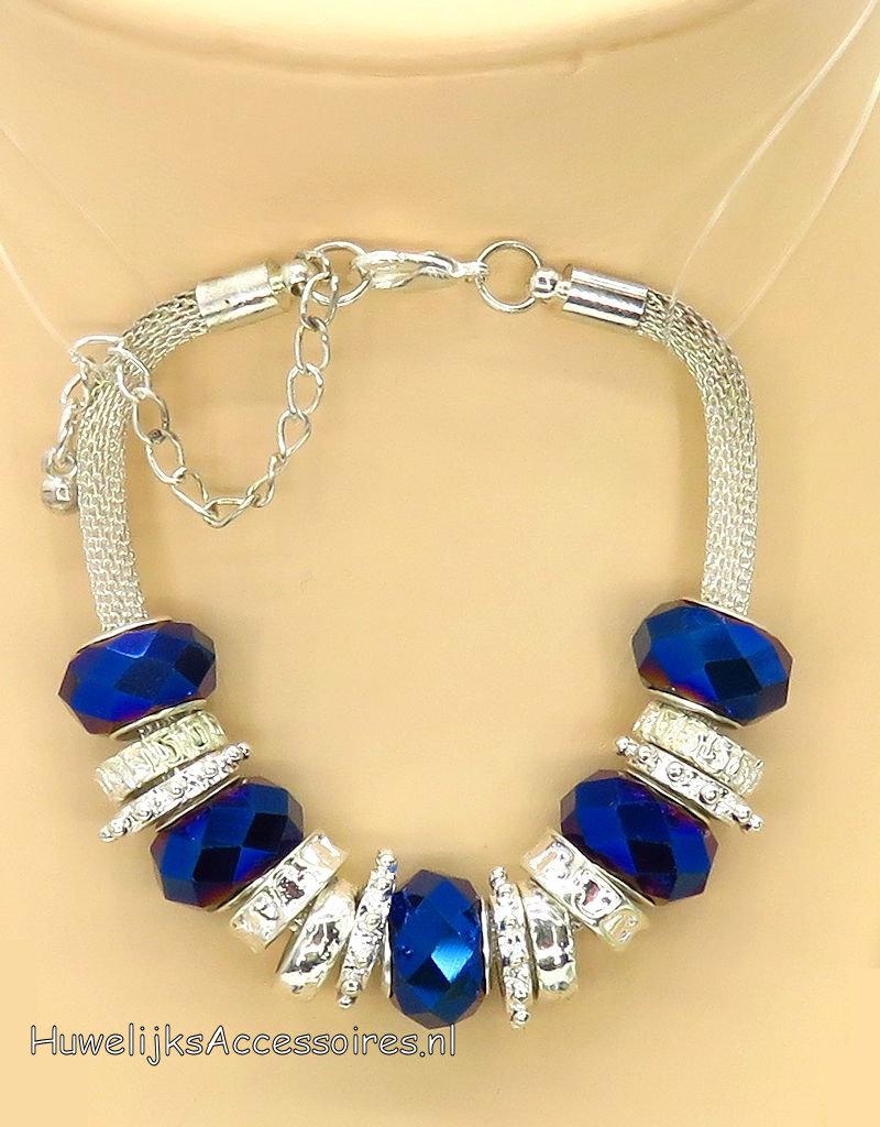 Bruidshalsketting en armband met marineblauw kralen