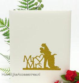 Mr & Mrs goud bruidspaar gastenboek