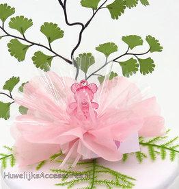 Geboorte bedankje met een roze beertje