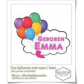 Walldecor Geboortesticker op raam met tros Ballonnen