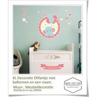 Walldecor babykamer decoratie Olifant met tros ballonnen in pastel tinten