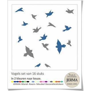 JERMA decoraties Vogel raamstickers set 16 vogelstickers in 2 kleuren naar keuze.