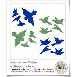 JERMA decoraties Vogel raamstickers set in 2 kleuren