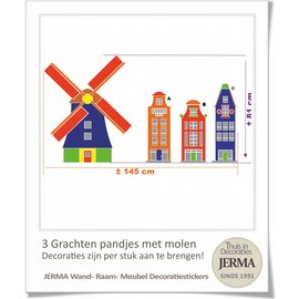 JERMA decoraties Grachtenpandjes muurstickers met Molen